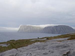 das Wetter verschlechtert sich schnell, Nebel am touristischen Nordkap